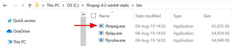 Folder structure and location of ffmpeg