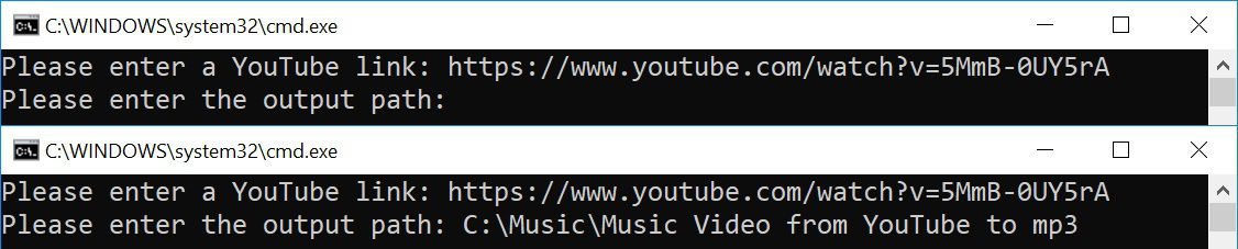 User prompt to convert from youtube to mp3